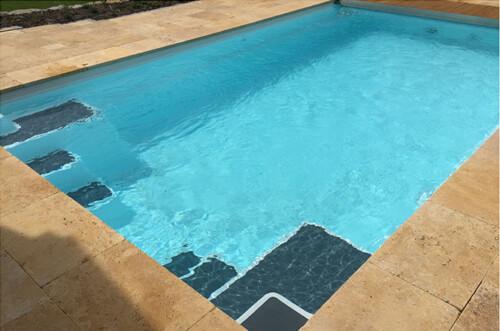 polyester zwembad dove 640 met lamellenafdekking