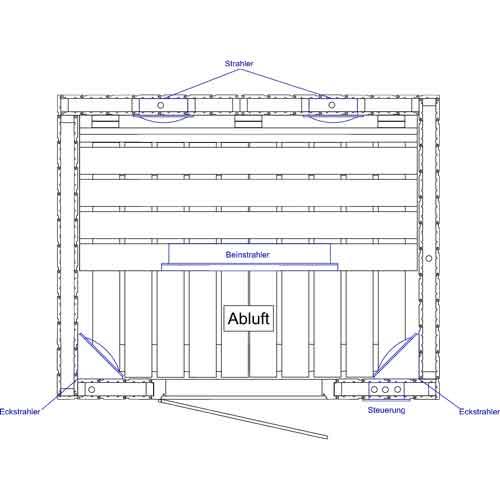 infrarood cabine 130 x 104 met straler