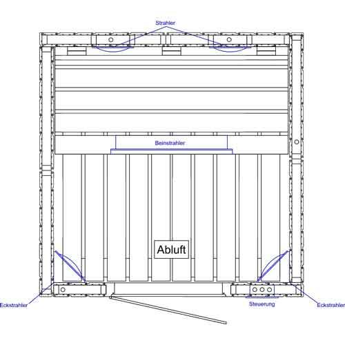 infrarood cabine 130 x 130 met straler