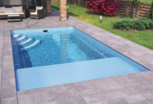 polyester zwembad lugano met lamellenafdekking