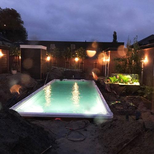 zwembad project Nijkerkerveen aansluiten zwembadverlichting