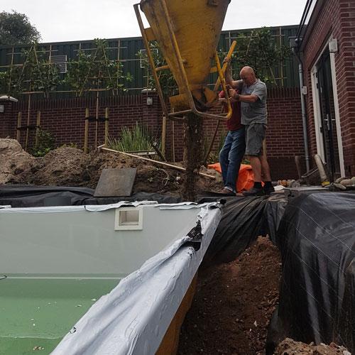 zwembad project Nijkerkerveen aanvullen met grof puin